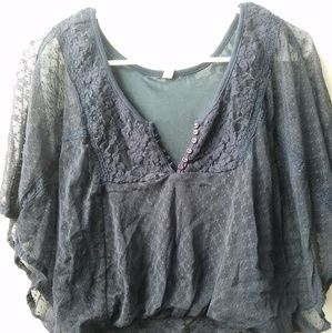 Free People Navy lace top